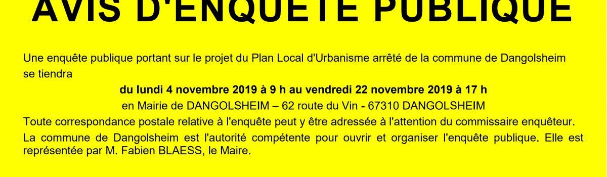 Enquête Publique PLU de Dangolsheim du 4 au 22 novembre 2019